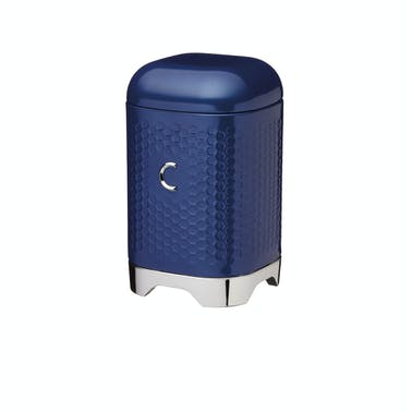 Lovello Retro Coffee Canister with Geometric Textured Finish - Midnight Navy