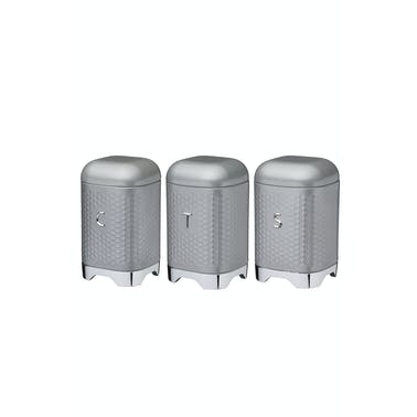 KitchenCraft Lovello Tea, Coffee and Sugar Storage Canisters in Gift Box, Shadow Grey