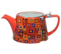 London Pottery Kaffe Fassett Oval® Filter Teapot with Infuser (Jewel Squares)