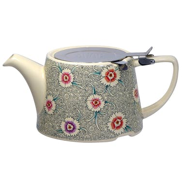 London Pottery Kaffe Fassett Oval® Filter Teapot with Infuser (Dianthus)