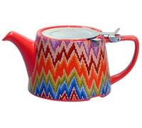 London Pottery Kaffe Fassett Oval® Filter Teapot with Infuser (Flame Stitch)
