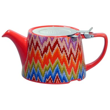 London Pottery Company Kaffe Fassett Oval-Filter Teapot with Infuser (Flame Stitch)