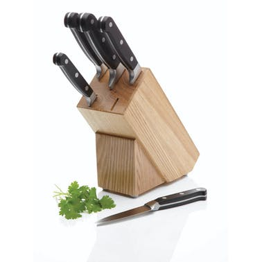 MasterClass Halo 5 Piece Knife Set with Oak Wood Storage Block