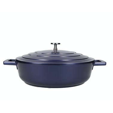 MasterClass Shallow 4 Litre Casserole Dish with Lid - Metallic Blue