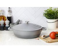 MasterClass Shallow 4 Litre Casserole Dish with Lid - Ombre Grey