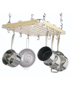 Photo of MasterClass Deluxe Ceiling Mounted Wooden Pot Rack