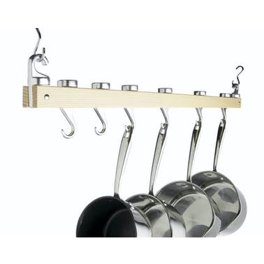 MasterClass Deluxe Ceiling Mounted Single Wooden Pot Rack