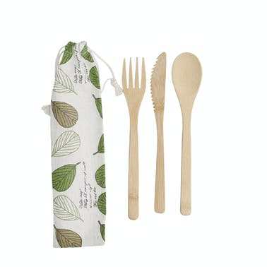 KitchenCraft Natural Elements Reusable Bamboo Cutlery Set in Fabric Pouch