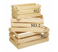 KitchenCraft Natural Elements Set of 3 Eco-Friendly Paulownia Wood Crates