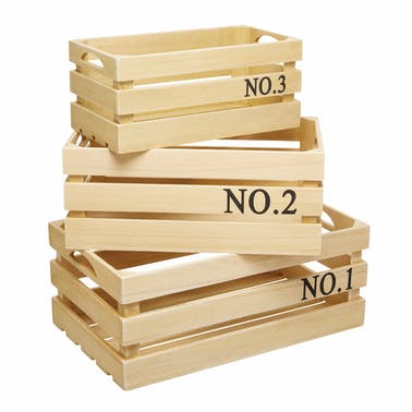 KitchenCraft Natural Elements Set of 3 Paulownia Wood Crates