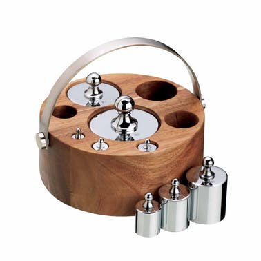 KitchenCraft Natural Elements 8 Piece Imperial Weight Set with Wood Stand