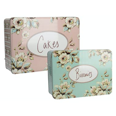 Katie Alice Cottage Flower Set Of 2 Rectangle Tins