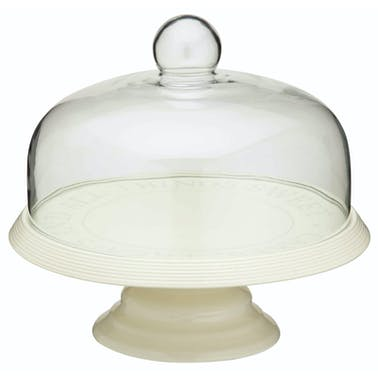 Classic Collection Ceramic Cake Stand with Glass Dome