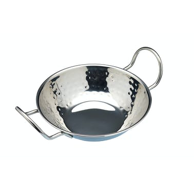 World of Flavours 17cm Hammered Stainless Steel Indian Balti Dish